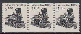 USA 1982 Locomotive 1870 (coil) 1v Strip Of 3 ** Mnh (41800D) - Verenigde Staten