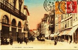 8050 -  Haut Rhin  :  MULHOUSE  :  Tramway , Rue Du Sauvage     -    Circulée En 1922 - Mulhouse