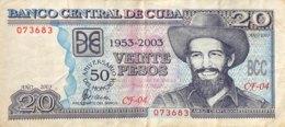 Cuba 20 Pesos, P-126 (2003) - VF- 50 Years Moncada Barracks Storm - SCARCE! - Cuba