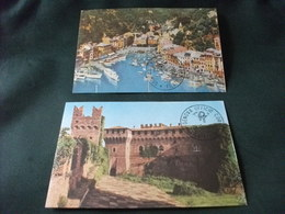 MAXIMUM CARD N° 77 78  GRADARA CASTELLO MALASPINA ROCCA MALATESTIANA PORTOFINO VEDUTA PORTICCIOLO - Castelli