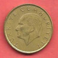 100 Lira ( Lire ) , TURQUIE , Alu-Bronze , 1989 , N° KM # 988 - Turquie