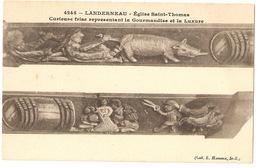 LANDERNEAU - Eglise Saint-Thomas Curieuse Frise Représentant La Gourmandise Et La Luxure - Landerneau