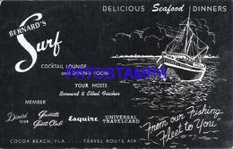 107326 US PUBLICITY BERNARD'S SURF DELICIOUS SEAFOOD DINNERS POSTAL POSTCARD - Vereinigte Staaten
