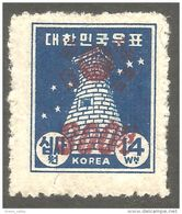 550 Korea 1951 Astronomy Observatoire Kyongju Surcharge 300wn MH * Neuf CH (KOS-123) - Astronomie