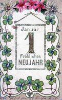 Nouvel An, Premier Janvier, Trefle à Quatre Feuilles, Gaufrée - Nouvel An