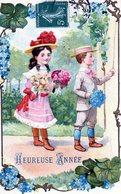 Nouvel An, Premier Janvier, Enfants, Bouquets, Gaufrée - Nouvel An