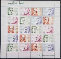 DE23- Algeria 2008 Complete Set 4v. MNH - Algerian Famous Writers - FULL SHEET - Algeria (1962-...)