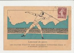 ATHLETISME LANCEMENT DU JAVELOT PUBLICITE SAINT RAPHAEL QUINQUINA CPA BON ETAT - Athlétisme
