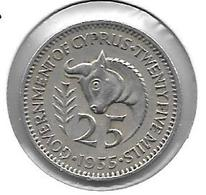*cyprus 25 Mils 1955  Km 35 - Chypre