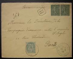 Muzillac (Morbihan) 1906 Lettre Recommandée Affranchissement Mixte - Marcophilie (Lettres)