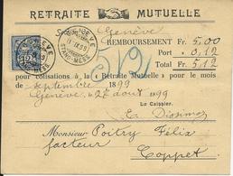62, Type Chiffre, Outremer, Obl. Genève, Stand 11.XI.99, Cachet Au Dos Coppet 1.XI.99 - Brieven En Documenten