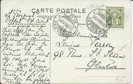 82, Type Chiffre, Vert, Obl. Ambulant 17.VII.06, Verso Carte Du Bourg De Coppet - Storia Postale