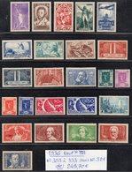 Année Complète 1936 N° 309 à 333 Sans N° 321 Cote: 249,70 € à 15% De La Cote  Neuf * TTB - France