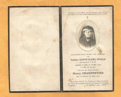 GENEALOGIE FAIRE PART DECES   Infirmiere  Pauline Cécile Etiennette SAINTE-CLAIRE DEVILLE Chateau Thierry 1878 1922 - Décès