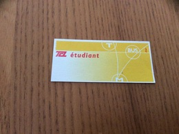 """Ticket De Transport *x (Bus, Métro, Tramway) TCL """"étudiant (jaune)"""" LYON (69) - Bus"""
