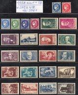Année Complète 1938 N° 372 à 418 Cote: 376 € à -16% De La Cote  Neuf * TTB - France