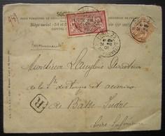 Société Générale 1901 Lettre Recommandée Avec 2 Timbres Perforés, Pour Les Forges Et Acieries De Basse Indre - Postmark Collection (Covers)