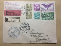 SWITZERLAND Registered Express Einschreiben First Flight Cover Zurich To Stockholm - Switzerland