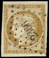 EMISSION DE 1849 - 1    10c. Bistre, Jolie Nuance, Obl. PC 2366, Superbe, C Et Br - 1849-1850 Cérès
