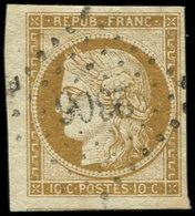 EMISSION DE 1849 - 1    10c. Bistre-jaune, Petit Bdf Et Amorce De Voisin En Bas, Obl. PC 2306, TTB. C - 1849-1850 Cérès
