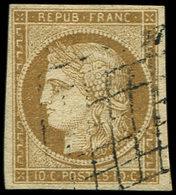 EMISSION DE 1849 - 1    10c. Bistre-jaune, Obl. GRILLE, TB - 1849-1850 Cérès