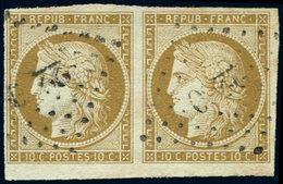 EMISSION DE 1849 - 1    10c. Bistre-jaune, PAIRE Bdf Inférieur, Obl. PC, TTB - 1849-1850 Ceres