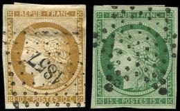 EMISSION DE 1849 - 1 Et 2, 10c. Bistre-jaune Et 15c. Vert, Obl. PC 1857 Et Etoile, TB - 1849-1850 Ceres