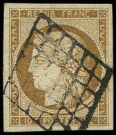 EMISSION DE 1849 - 1a   10c. Bistre-brun, Oblitéré GRILLE, Belles Marges, TB/TTB - 1849-1850 Ceres