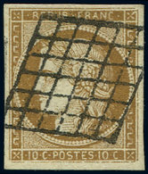 EMISSION DE 1849 - 1a   10c. Bistre-brun, Oblitéré GRILLE, Nuance Soutenue, Un Point De Pelurage, Sinon TTB - 1849-1850 Cérès