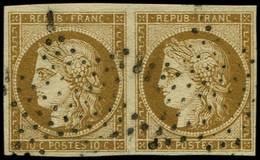 EMISSION DE 1849 - 1a   10c. Bistre-brun, PAIRE Obl. ETOILE, TTB - 1849-1850 Ceres