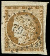 EMISSION DE 1849 - 1b   10c. Bistre-VERDATRE, Grandes Marges, Obl. PC 762, Superbe. C - 1849-1850 Cérès