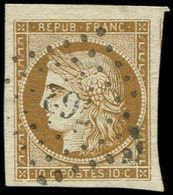 EMISSION DE 1849 - 1b   10c. Bistre-VERDATRE, Grandes Marges, Obl. PC 762, Superbe. C - 1849-1850 Ceres