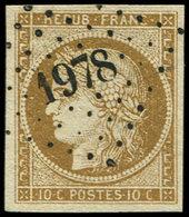 EMISSION DE 1849 - 1b   10c. Bistre VERDATRE, Obl. PC 1978, Superbe - 1849-1850 Cérès