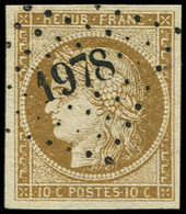 EMISSION DE 1849 - 1b   10c. Bistre VERDATRE, Obl. PC 1978, Superbe - 1849-1850 Ceres