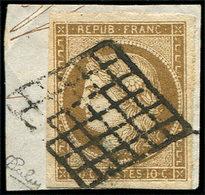 EMISSION DE 1849 - 1c   10c. Bistre-VERDATRE FONCE, Obl. GRILLE Sur Fragt, Nuance Certifiée Jacquart, TB - 1849-1850 Ceres