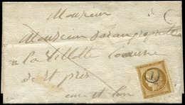 Let EMISSION DE 1849 - 1    10c. Bistre-jaune, Obl. Cachet I De Boite Rurale Dans Un Cercle Répété à Côté, S. LSC Pour L - 1849-1850 Ceres