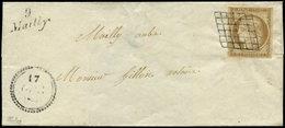 Let EMISSION DE 1849 - 1    10c. Bistre-jaune, Obl. GRILLE S. LSC, Cursive 9/MAILLY, Dateur B 17 OCT_, Port Local, TTB.  - 1849-1850 Cérès