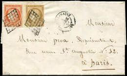 Let EMISSION DE 1849 - 1 Et 5, 10c. Bistre Bdf Et 40c. Orange, Obl. GRILLE S. LAC, Càd T15 CHATELLERAULT 4/4/51, TTB - 1849-1850 Cérès