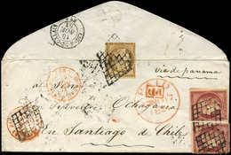 Let EMISSION DE 1849 - 1 Et 6, 10c. Bistre Et 1f. Carmin PAIRE, Touchés, Obl. GRILLE S. Env., Càd Rouge BUREAU CENTRAL 1 - 1849-1850 Cérès