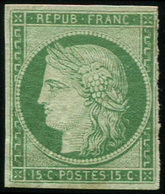 * EMISSION DE 1849 - 2    15c. Vert, 2 Cl., Filet De Droite Touché En Trois Points, B/TB. C - 1849-1850 Cérès
