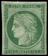 * EMISSION DE 1849 - 2b   15c. Vert Foncé, Timbre Restauré Mais Aspect Très Plaisant - 1849-1850 Ceres