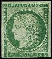 (*) EMISSION DE 1849 - 2    15c. Vert, Filet Inférieur Coupé, B/TB, Certif. Scheller - 1849-1850 Cérès