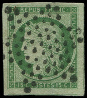 EMISSION DE 1849 - 2    15c. Vert, Grandes Marges, 3 Amorces De Voisins, Obl. ETOILE, Superbe. J - 1849-1850 Ceres