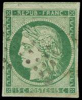 EMISSION DE 1849 - 2    15c. Vert, Filet De Voisin En Haut, Obl. ETOILE, TTB. Br - 1849-1850 Cérès