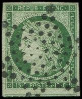 EMISSION DE 1849 - 2    15c. Vert, Voisin En Bas, Obl. ETOILE, TTB. C - 1849-1850 Cérès