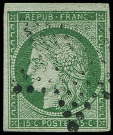 EMISSION DE 1849 - 2    15c. Vert, Oblitéré ETOILE, TB. C - 1849-1850 Cérès