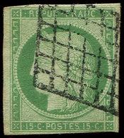 EMISSION DE 1849 - 2    15c. Vert, Obl. GRILLE, Filet Touché Dans Un Angle, B/TB - 1849-1850 Cérès