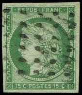 EMISSION DE 1849 - 2    15c. Vert, Obl. GROS POINTS, Léger Pelurage, Aspect TTB - 1849-1850 Ceres
