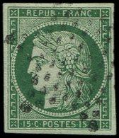 EMISSION DE 1849 - 2b   15c. Vert FONCE, Obl. ETOILE, TB. Br - 1849-1850 Cérès