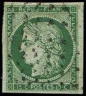 EMISSION DE 1849 - 2b   15c. Vert FONCE, Obl. Roulette De POINTS, Frappe Légère, TTB - 1849-1850 Cérès
